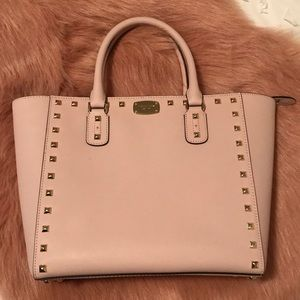 Michael Kors pale pink studded tote